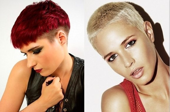 модели с белыми и красными волосами