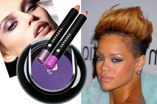 певица Риана с фиолетовым макияжем