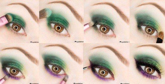 зелено- фиолетовый make up