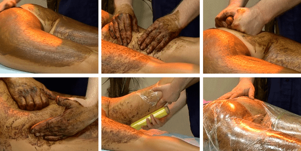 процедура массажа и обертывания