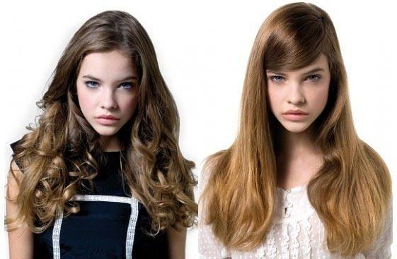 прямые волосы и локоны