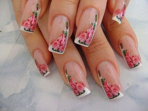 косой френч с розовыми розами