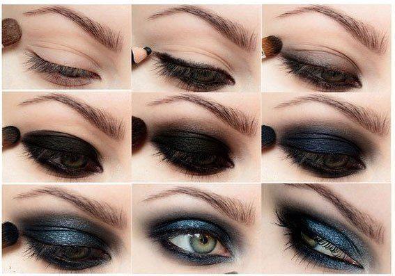 темно- синий smoky eyes