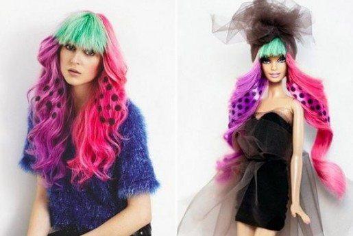 яркие разноцветные волосы