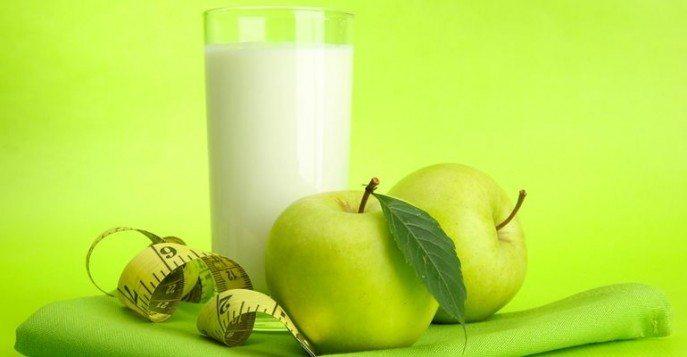 кефир, яблоко, лента