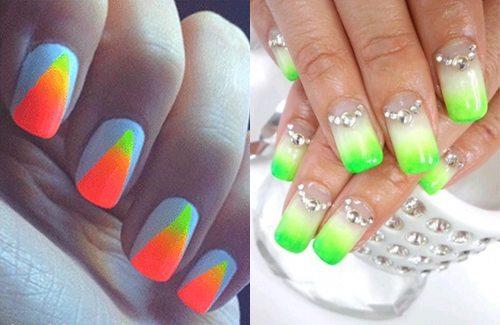 яркий градиент nail art