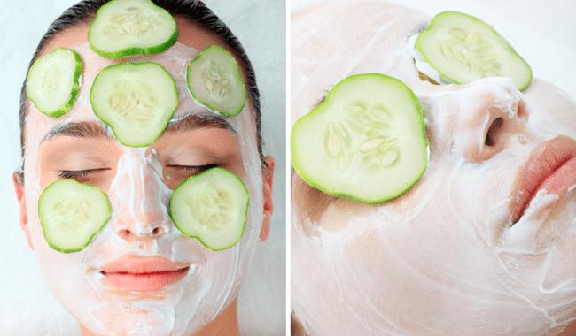 огуречные аппликации на коже лица