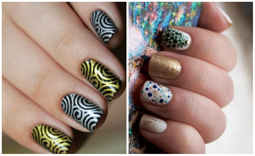 блестящий nail art