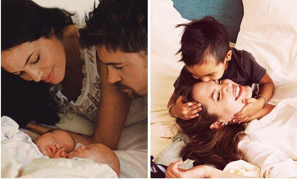 Анджелина с детьми и мужем