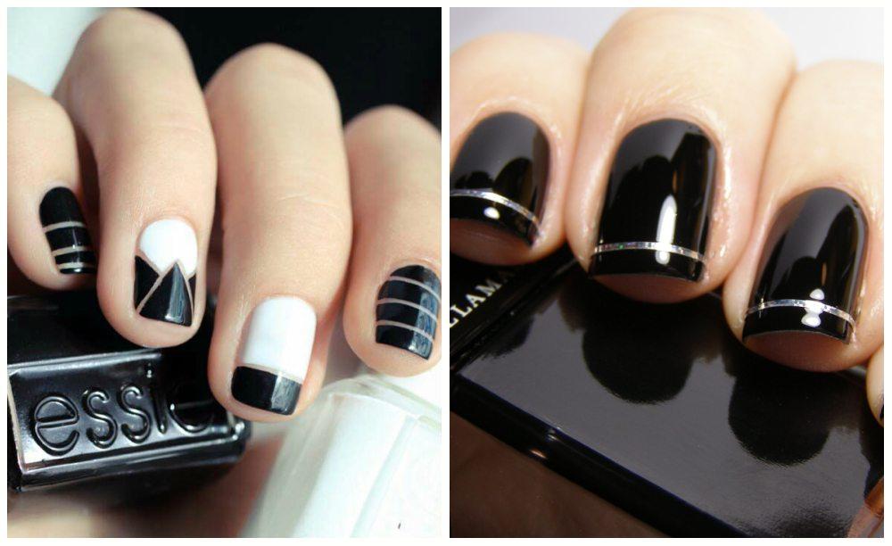 черно-белый nail art