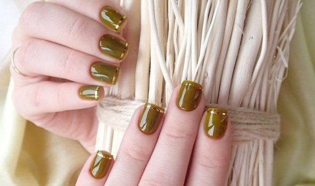 оливковый nail art