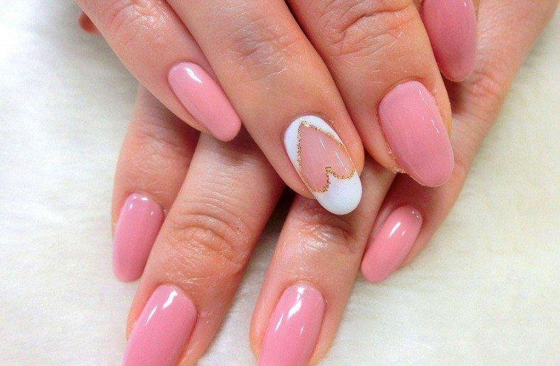 розовый дизайн гель лаком