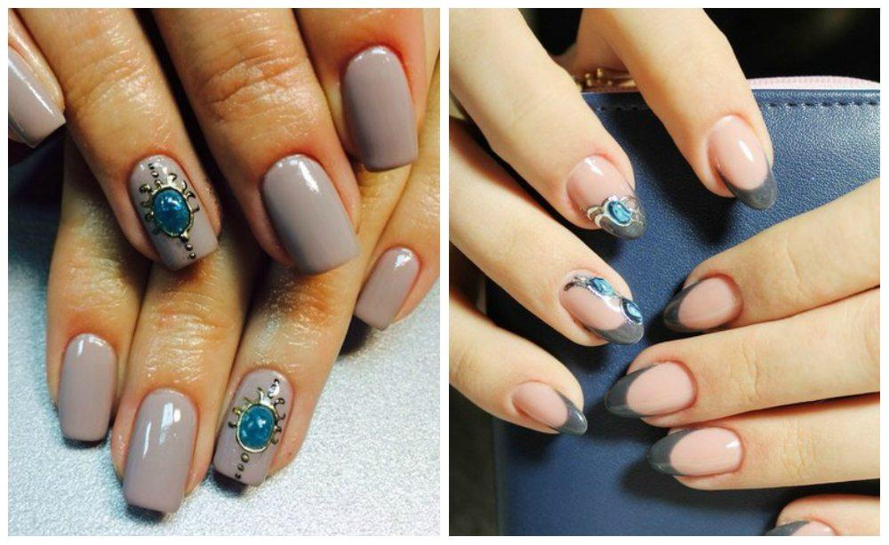 красивый nail art с искусственным камешком