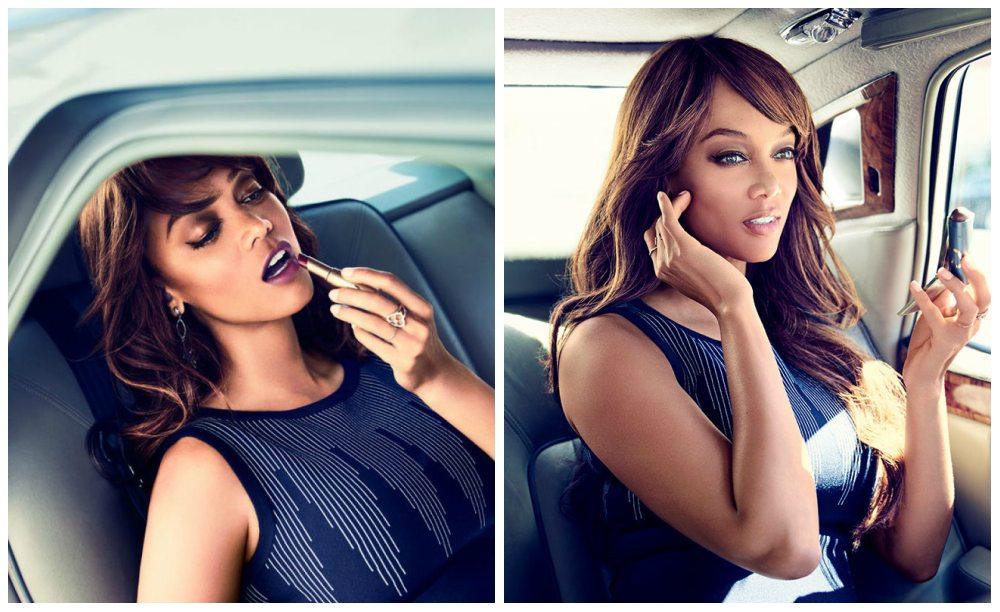Tyra Banks делает мейкап в машине