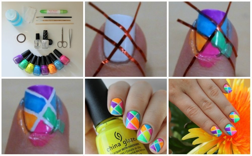 витражный nail art