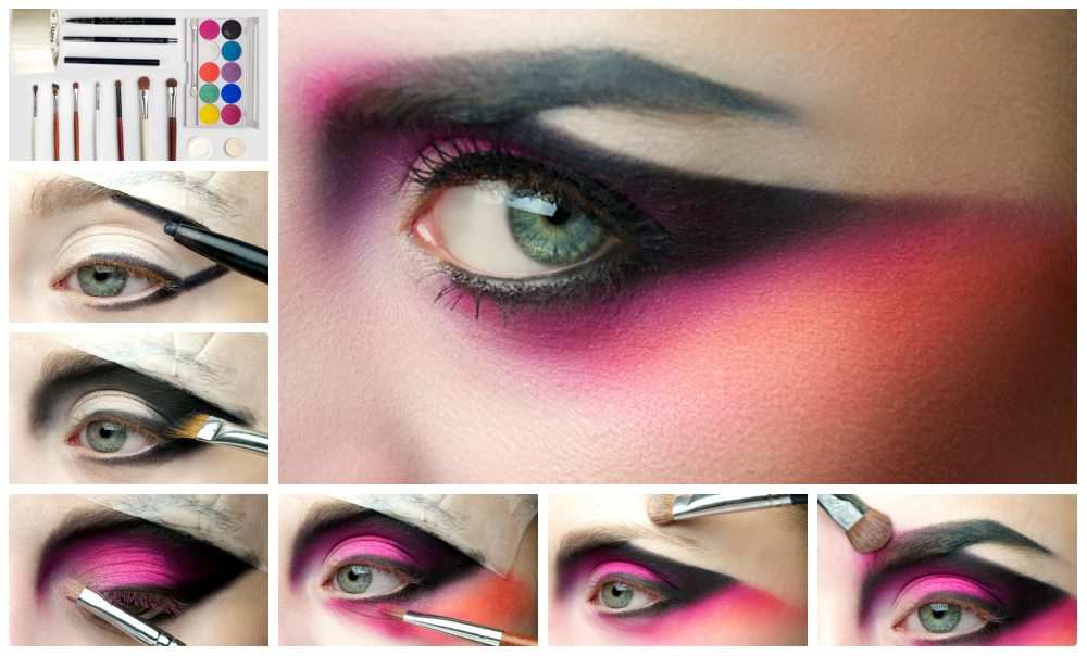 яркий графический make up