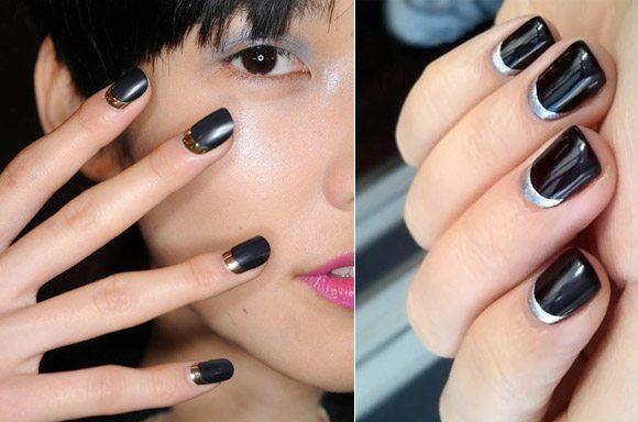черно-металлический nail art