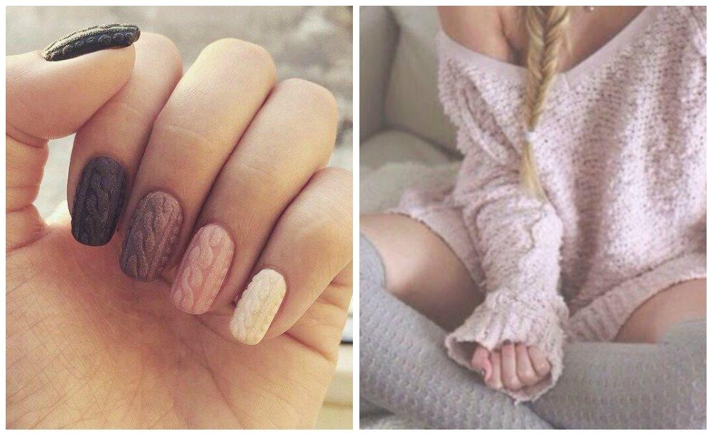 дизайн ногтей фото свитер