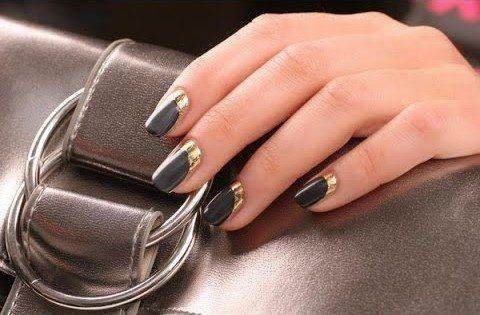 золотистый nail art
