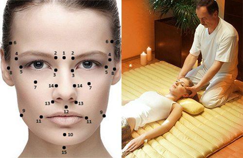 точки для массажа на лице