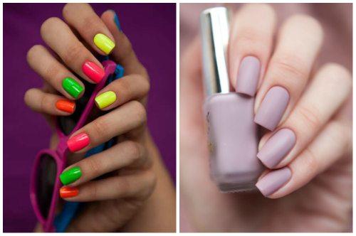 цветной и матовый дизайн ногтей