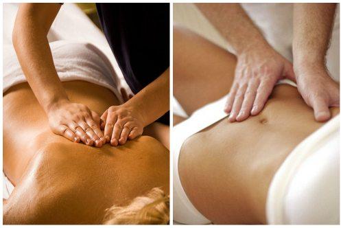 разминание мышц живота и спины
