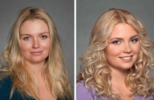 блондинка до и после 3 д покраски