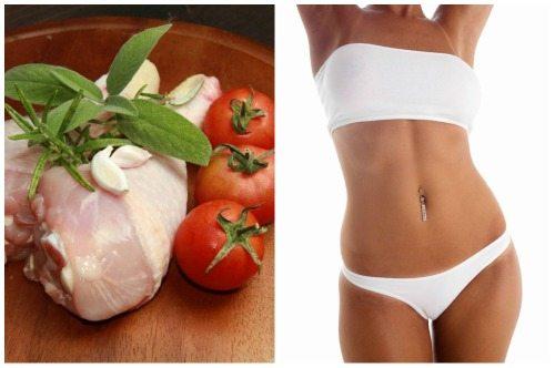 курица с овощами и красивый силуэт