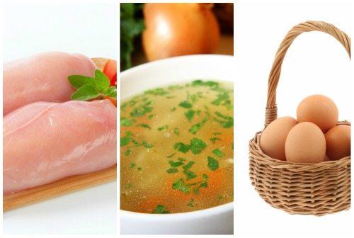 мясо, бульон и яйца