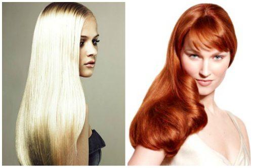 блондинка и рыжая с ламинированными волосами