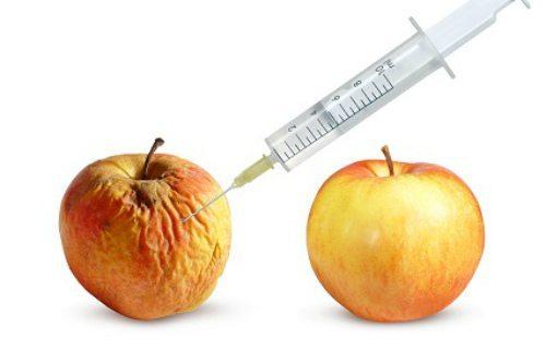 пример эффекта скинбустеров на яблоке