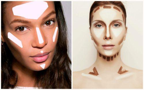 распределение косметики на лице