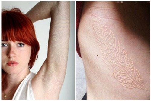 татуировка белым пигментом