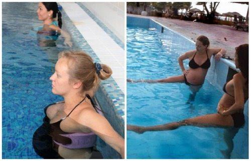 занятия гимнастикой в бассейне