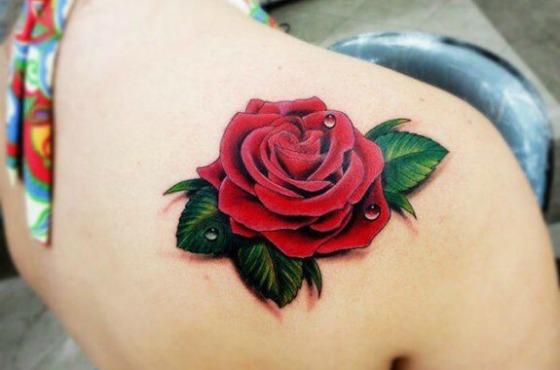 алая 3 D роза