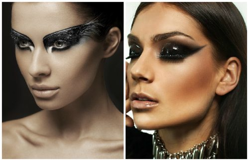 подиумный макияж в черных тонах