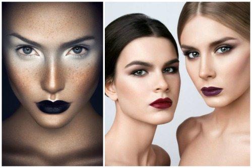 вариации бьюти мейк-апа с темными губами