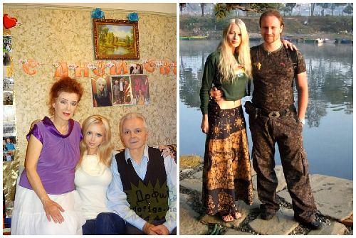 Лера с бабушкой, дедушкой и мужем