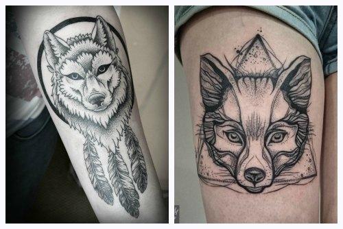 Волк и лиса в графическом стиле