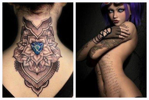 Цветные графические татуировки у девушек