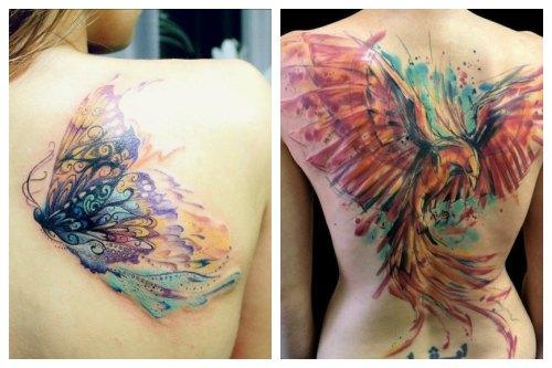 Бабочка и птица феникс на женском теле
