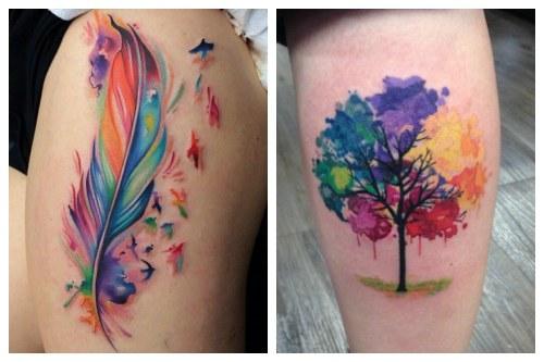 Яркие краски в акварельной татуировке