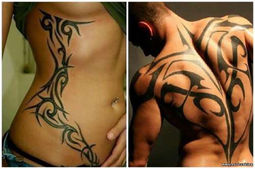 четкие линии на мужском и женском телах