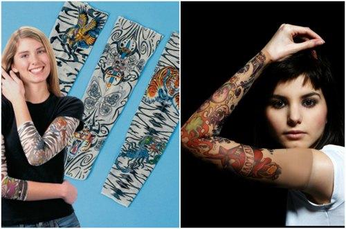 эластичные нарукавники-татуировки