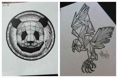 Эскизы для графических татуировок