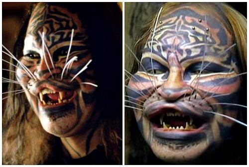 усы и татуировки лица