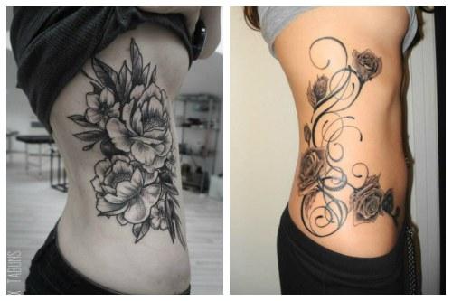 Пионы и розы на теле девушки