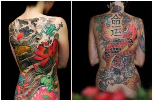 японские мотивы на женской спине