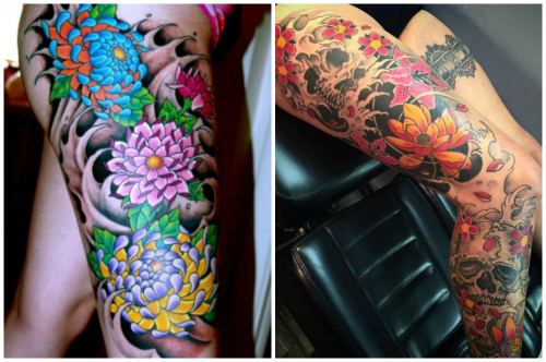 Татушки с цветами на ногах девушек