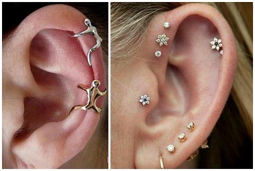 ювелирные изделия в ушах